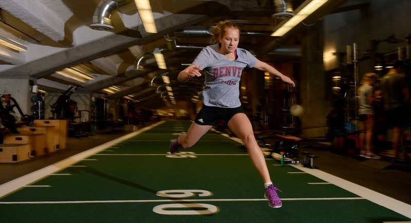 Members of the University of Denver ski team train at the school's Ritchie Center in to get ready for the upcoming ski season.