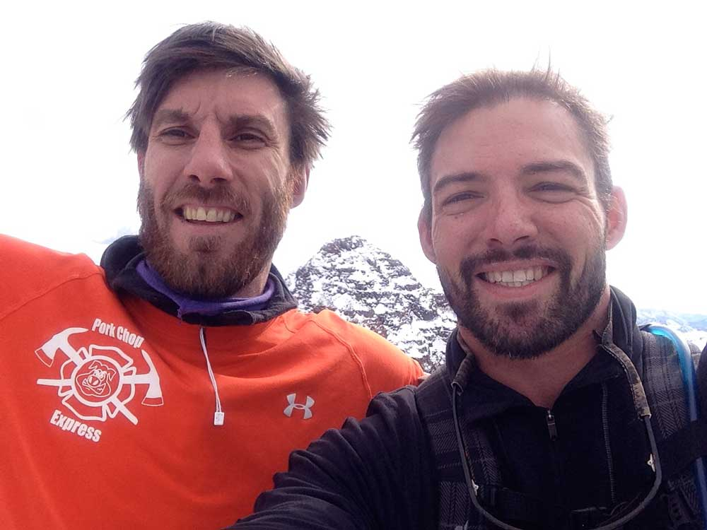 Jarod Wetherell (left) and David Richardson on North Maroon Peak.