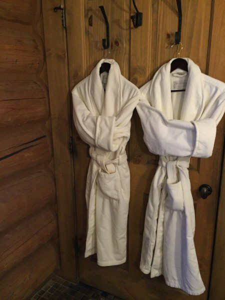 Cozy robes in the cabin at Devil's Thumb Ranch. Photo by Kim Fuller.