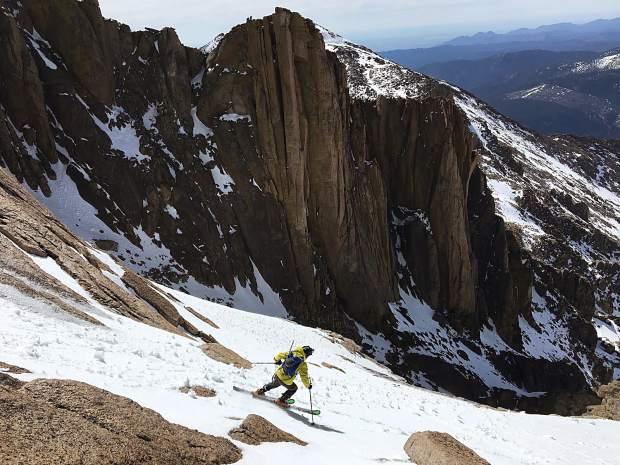 Jon Kedrowski skis Longs Peak to Keplinger's Couloir. The mountaineer skied all of Colorado's Fourteeners this past winter.