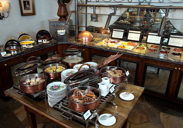 The buffet on Ludwig's Terrace at the Sonnenalp is strewn with regional specialties such as German cold cuts and muesli, as well as American favorites like waffles and French toast.