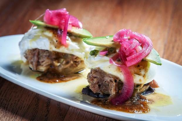 There are always a few Mexican-style items on the brunch menu at Maya, including renditions of huevos rancheros, breakfast enchiladas and the Mayan Benedict, pictured here.