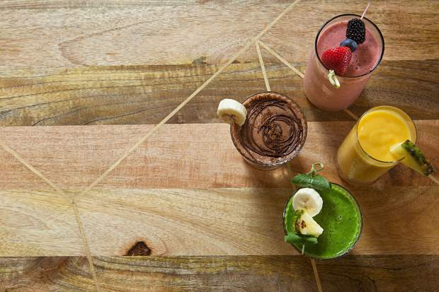A wide selection of house-made juices and smoothies are offered at Harvest by Kelly Liken, such as the One a Day juice, with tomato, beets, celery, red bell pepper and shishito peppers; and the Pow Pow Power Smoothie, with cacao powder, espresso, banana, flax seeds and agave.